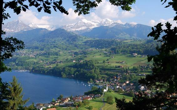 壁紙 スイス、ベルン、町、村、山、アルプス、湖
