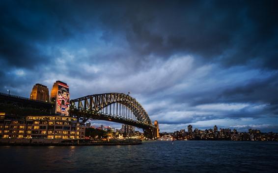 Papéis de Parede Sydney, ponte, mar, luzes, noite, cidade, Austrália