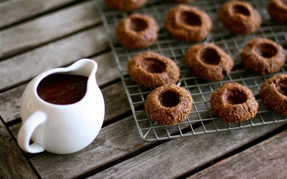 Papéis de Parede Chá, biscoitos de chocolate