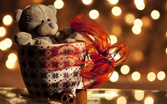 Papéis de Parede Urso de pelúcia, copo, presente