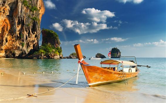Обои Таиланд, лодка, море, тропик, пляж