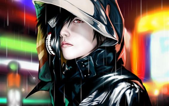 Papéis de Parede Tokyo Ghoul, homem, chuva, anime