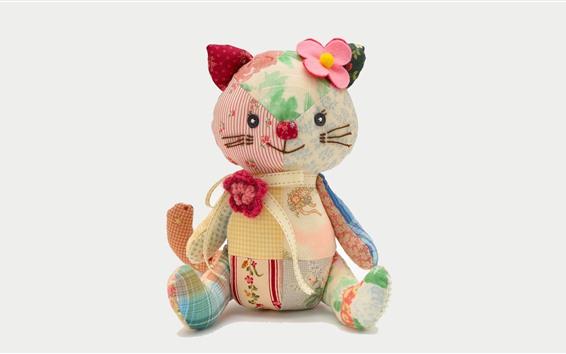 壁紙 おもちゃの猫、カラフルな布
