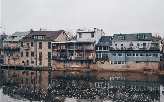 Papéis de Parede Aldeia, rio, casas