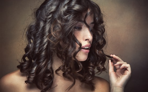 Wallpaper Woman, hairstyle, curly hair