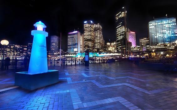 Обои Австралия, Сидней, ночь, город, небоскребы, огни, улица
