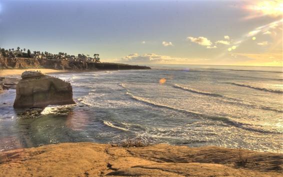Fond d'écran Plage, coucher de soleil, mer, vagues, eau, rochers