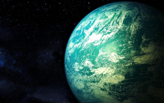 Wallpaper Beautiful blue earth, planet, space, stars