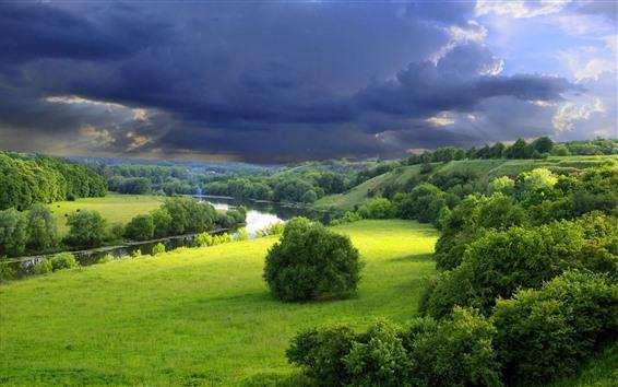 Обои Красивый пейзаж природы, зеленая трава, растения, река, густые облака