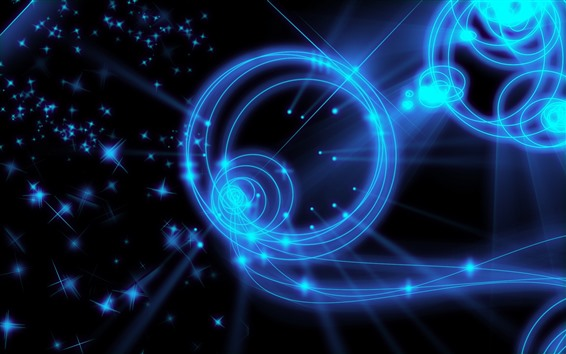 Wallpaper Blue light round, abstract