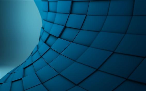 Fondos de pantalla Cuadrados azules, cuadro abstracto