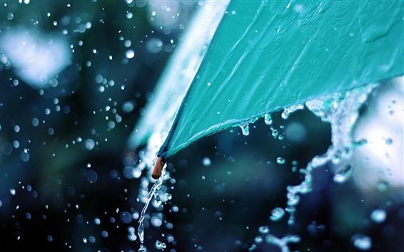 Papéis de Parede Guarda-chuva azul, respingos de água, dia chuvoso