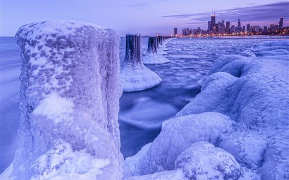 Wallpaper Chicago, snow, ice, sea, city, winter