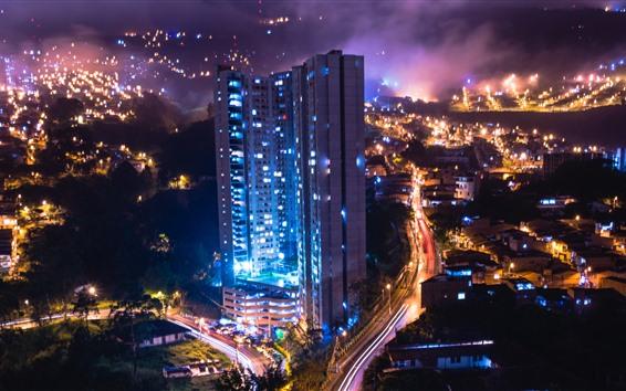 Papéis de Parede Cidade, noite, edifícios, estradas, luzes
