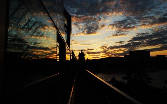 Papéis de Parede Cidade, pôr do sol, noite, rio, ponte