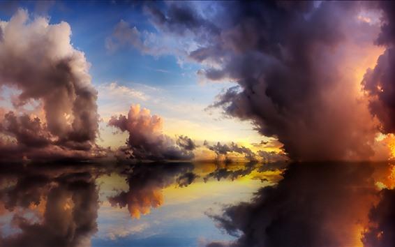 Обои Чистая вода, озеро, отражение, облака, сумерки