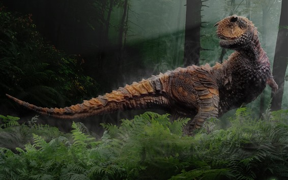 Wallpaper Dinosaur, trees, forest, creative picture