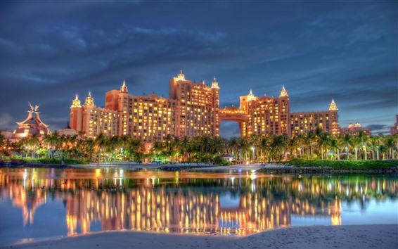 Fond d'écran Dubaï, hôtel, nuit, lumières, rivière, arbres