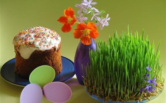 Hintergrundbilder Ostereier, Kuchen, Gras, Blumen