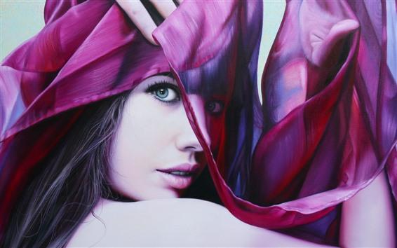 Обои Модная девушка, лицо, глаза, взгляд, шелковый шарф