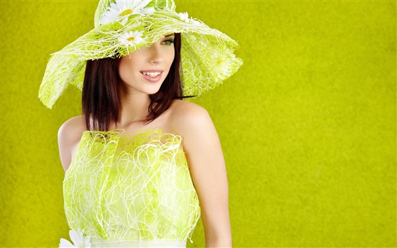 Wallpaper Fashion girl, green style, hat, smile