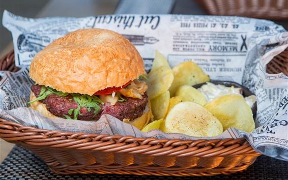 Wallpaper Hamburger, potato chips, fast food