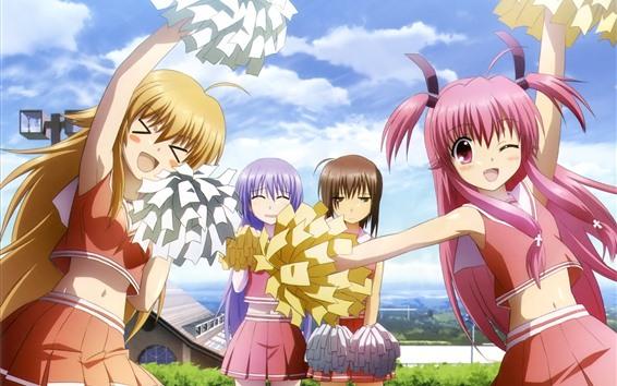Wallpaper Happy anime girls, cheerleading, dance