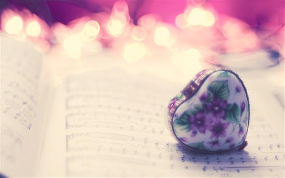 Wallpaper Love heart, gift, book, hazy, romantic