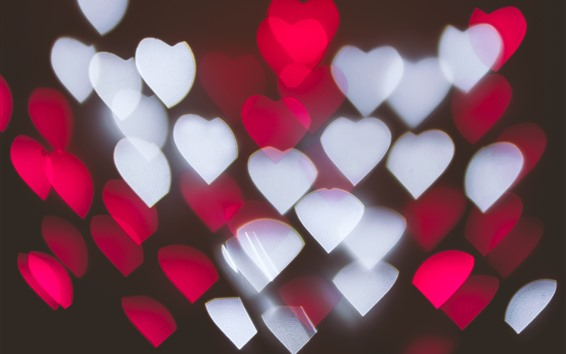 Wallpaper Many red and white love hearts, light, abstract