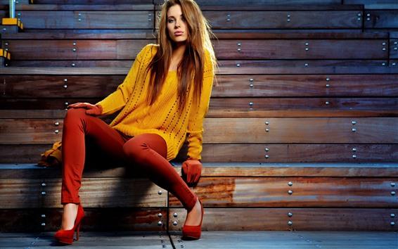 Wallpaper Model girl, brown hair, yellow sweater, pose