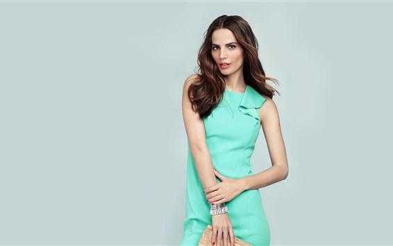 Papéis de Parede Menina modelo, saia verde