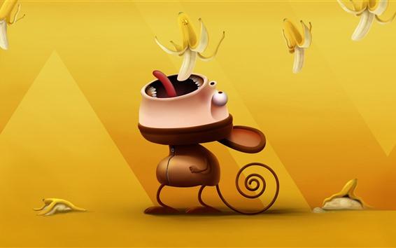 Обои Обезьяна ест банан, 3D картинка