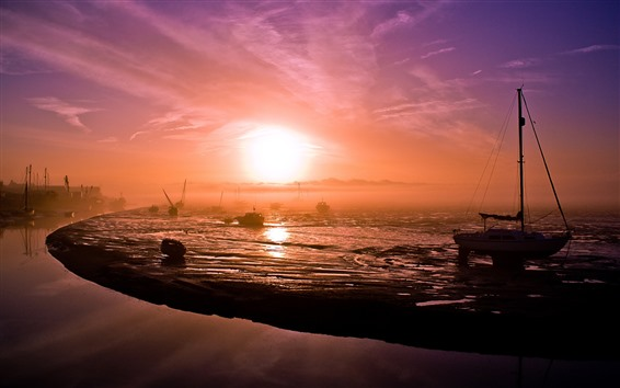 Papéis de Parede Manhã, nascer do sol, barcos, nevoeiro, mar