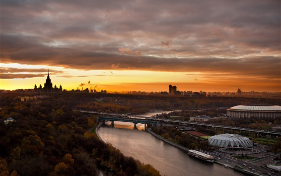 Wallpaper Moscow, city, sunset, river, bridge, Russia