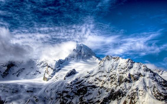 Обои Гора, снег, вершины, голубое небо, облака
