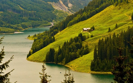 Wallpaper Mountains, slope, trees, river, house