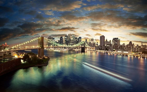 Fond d'écran New York, pont, nuit, ville, rivière, gratte-ciel, lumières, USA