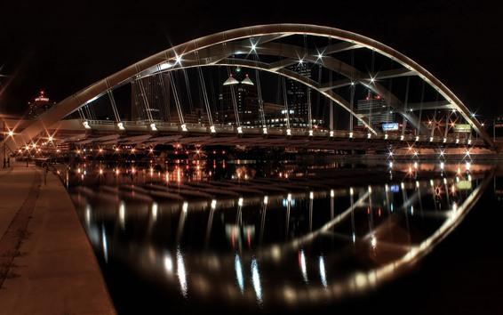 Wallpaper New York, bridge, river, lights, water reflection, night, USA