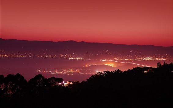 Fond d'écran Nuit, ville, lumières, mer, vue de dessus, San Francisco, USA