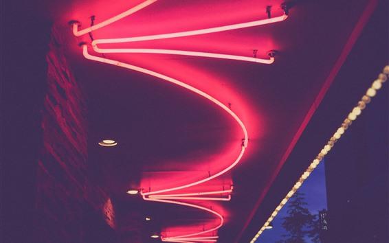 Fondos de pantalla Noche, neón, luces rosas