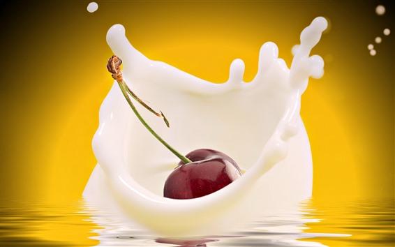 Обои Одна вишневая осень в молоке, всплеск