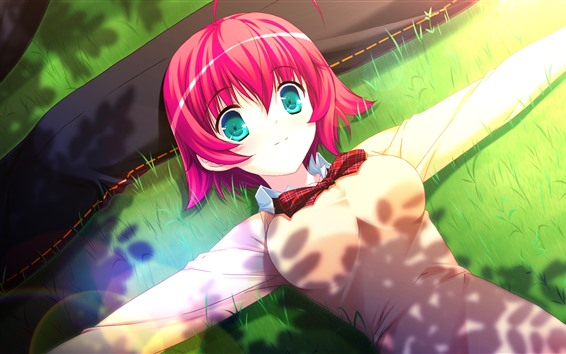 Wallpaper Pink short hair anime girl, blue eyes, meadow, summer
