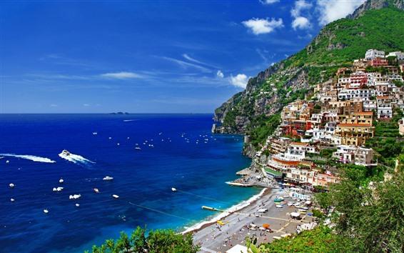 壁紙 ポジターノ、サレルノ、イタリア、住宅、海、ボート