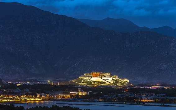 Wallpaper Potala Palace, Tibet, mountains, night, city