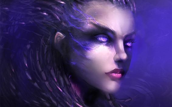Wallpaper Purple eyes fantasy girl, face, hair