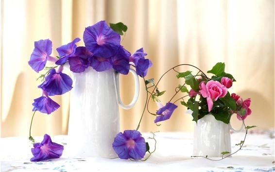 Обои Фиолетовая утренняя слава, розовая роза, ваза