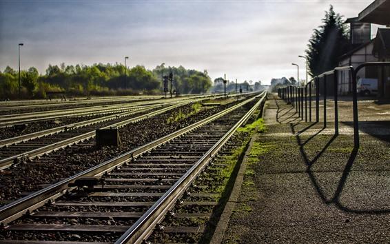 Wallpaper Railroad, sunshine, station