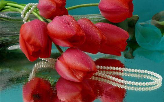 Papéis de Parede Tulipas vermelhas, gotas de água, miçangas
