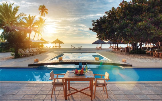 Wallpaper Resort, tropical, sea, pool, trees, sunset
