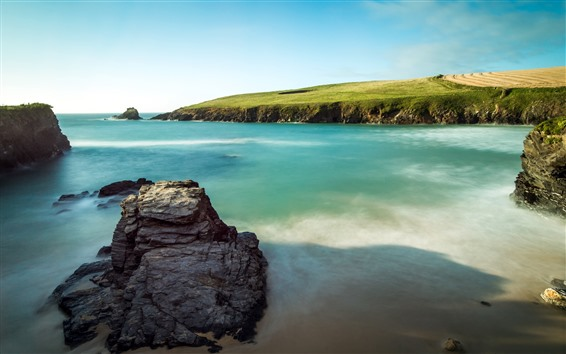 Fondos de pantalla Rocas, mar, pradera, costa